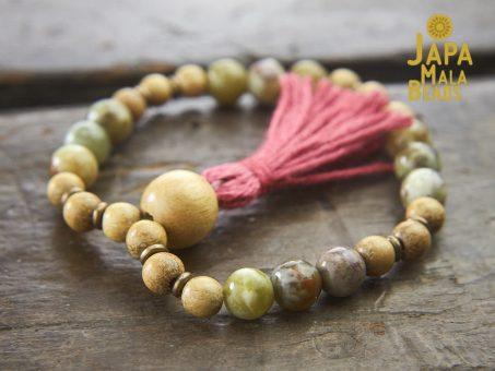 Red Serpentine and Jackfruit Wood Wrist Mala