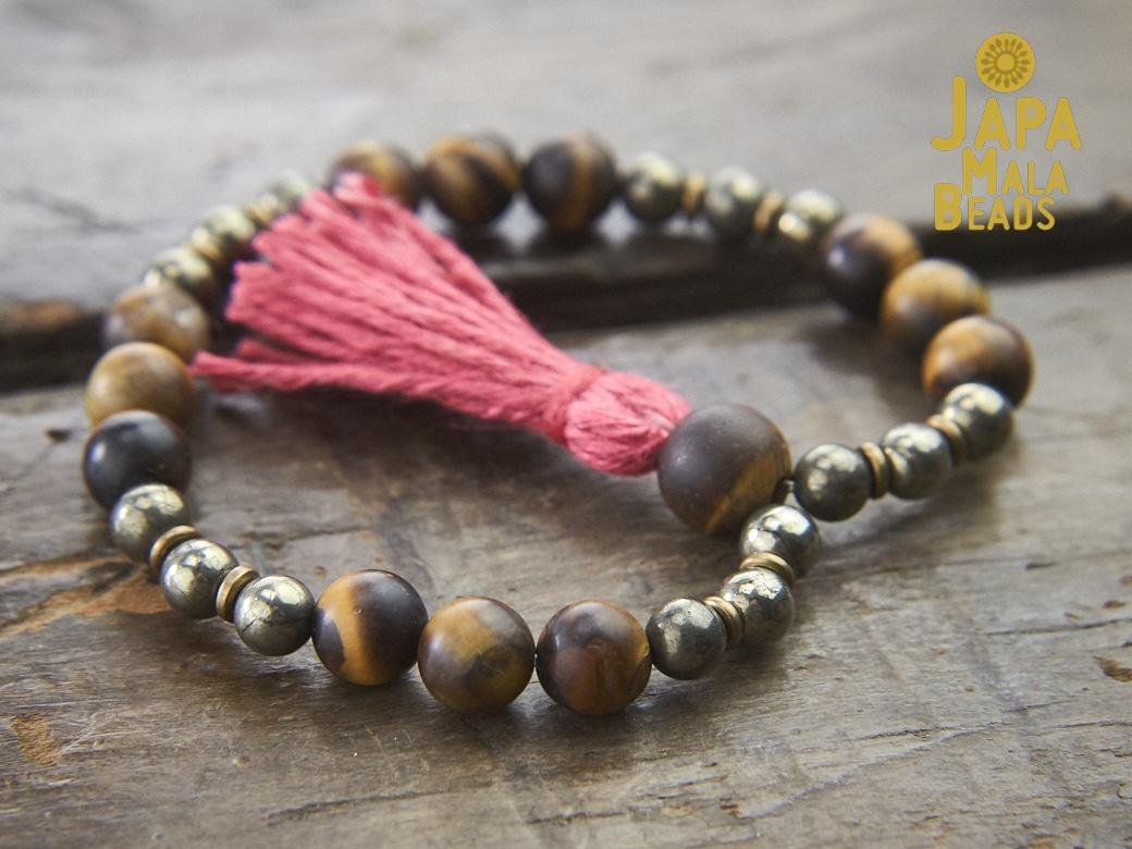 Tiger Eye And Pyrite Wrist Mala Japa Mala Beads