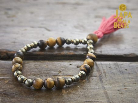 Tiger Eye and Pyrite hand Mala