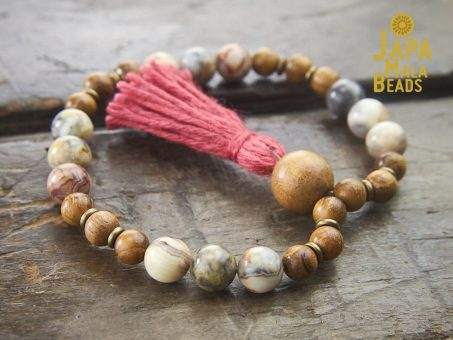 Crazy Lace Agate and Golden Sandalwood Wrist Mala