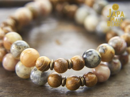 Crazy Lace Agate and Golden Sandalwood Mala Beads
