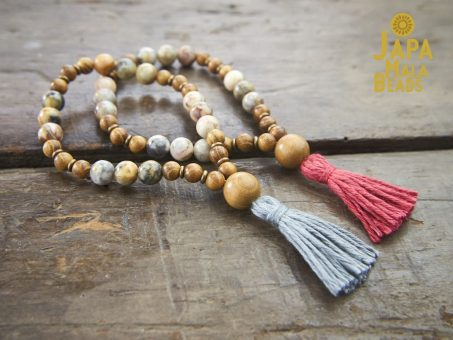Crazy Lace Agate and Golden Sandalwood Wrist Malas