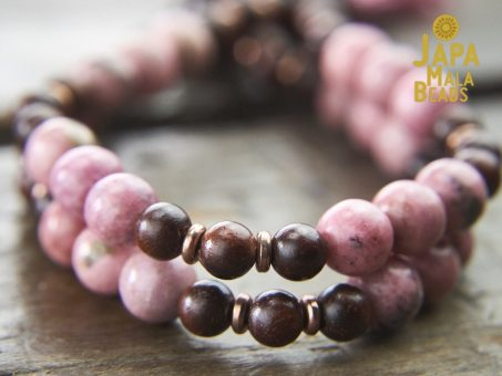 Rhodonite and Rosewood Mala Beads
