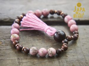 Rhodonite and Rosewood Bracelet Mala