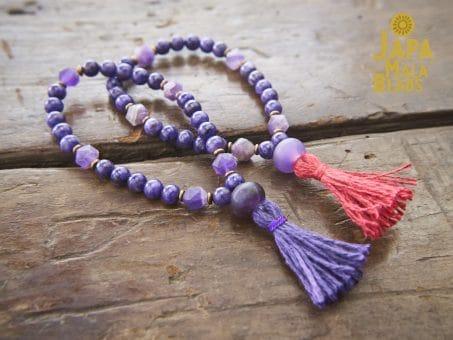 Charoite and Amethyst Bracelet Mala beads