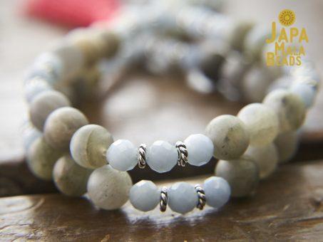 Angelite and Labradorite Wrist Mala Beads
