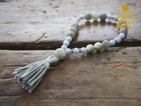 Angelite and Labradorite Bracelet Buddha Beads
