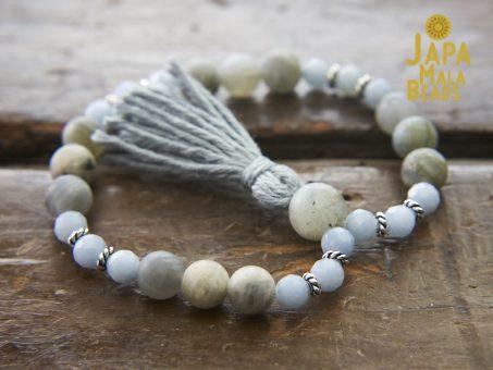 Angelite and Labradorite Bracelet Mala