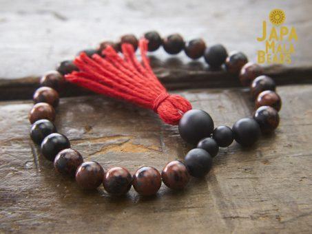 Mahogany Obsidian and Black Onyx Bracelet Mala