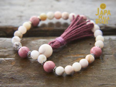 Pink Opal and Rhodonite Bracelet Mala