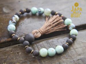Terra Agate and Agarwood Bracelet Mala