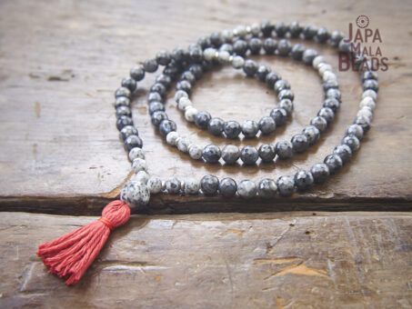 Sesame Jasper and Blue Labradorite Necklace Mala