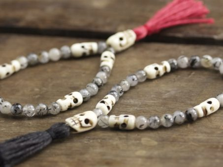Tourmalated Quartz and Bone Mala