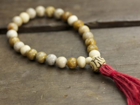 Fossilized Coral and Bone Mala
