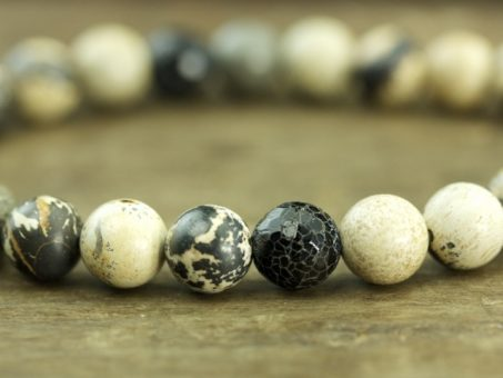Paint Brush Jasper & Cracked Black Agate Mala