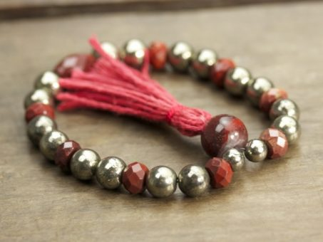 Pyrite and Rainbow Jasper Mala