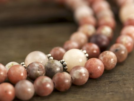 Pink Lepidolite and Aventurine Full Mala