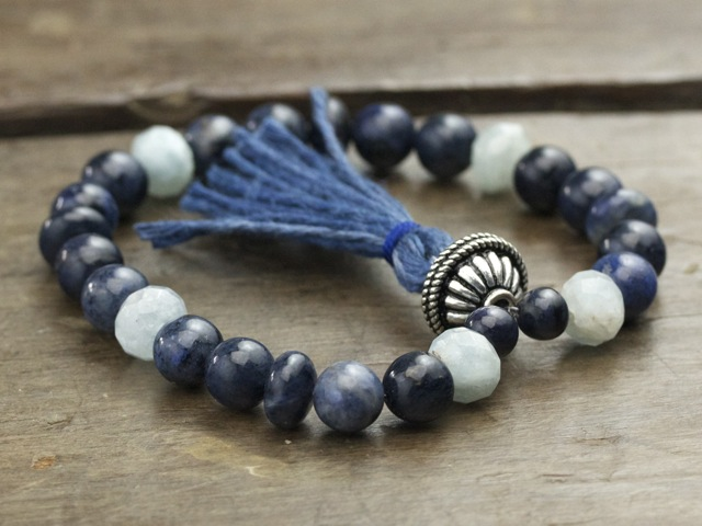Dumortierite and Aquamarine Mala