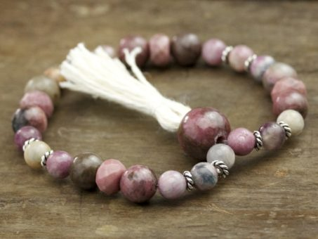 Pink Tourmaline and Rhodonite Mala