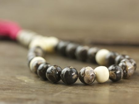 Turritella Agate and Bone Mala