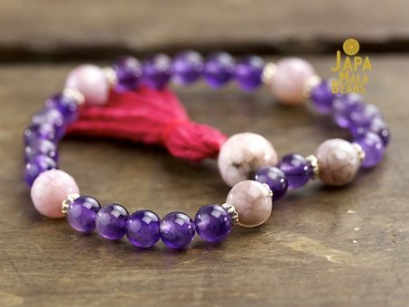 Amethyst and Pink Fired Agate Mala