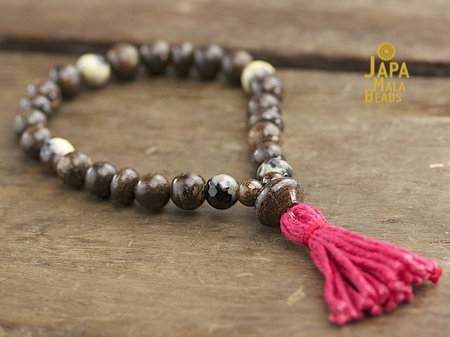Bronzite and Yellow Fired Agate Mala