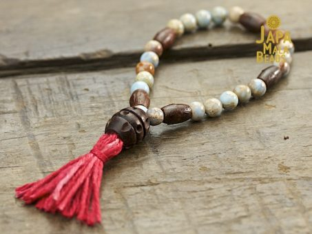 Blue Impression Jasper and Rosewood Mala
