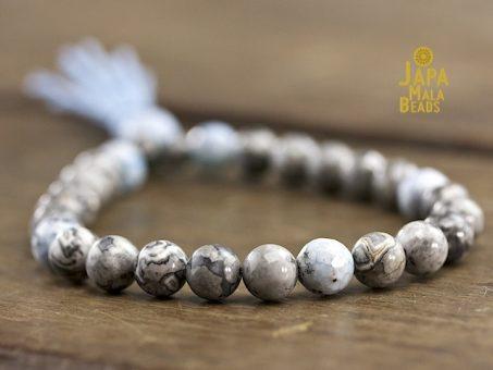 Silver Leaf Jasper & Blue Fired Agate Mala