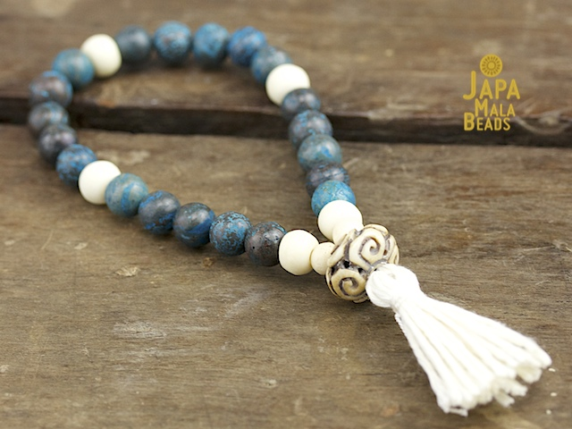 Blue Sky Jasper and Bone Mala