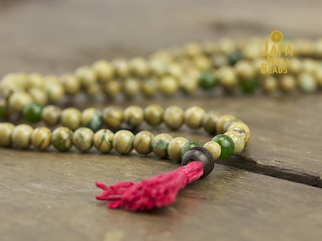 Verdite and Green Jade Full Mala
