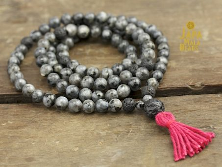 Blue Labradorite and Lava Stone Full Mala