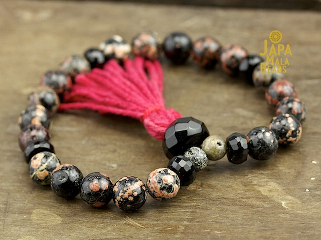 Red Snowflake Jasper and Obsidian Mala