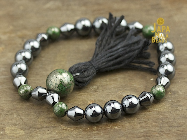 Green and Silver Pyrite Mala