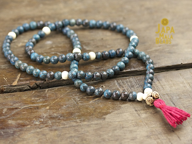 Blue Sky Jasper and Bone Full Mala