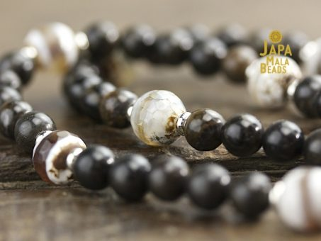 White Agate and Stromatolite Mala