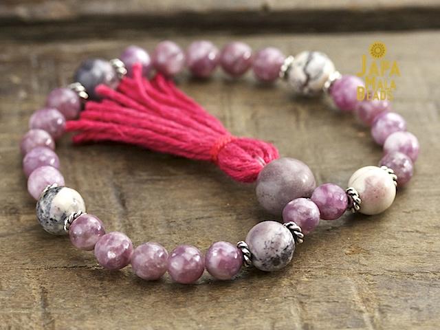Purple Tourmaline and Mauve Crazy Lace Agate Mala