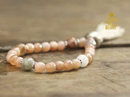 Peach Moonstone and Rutilated Quartz Mala