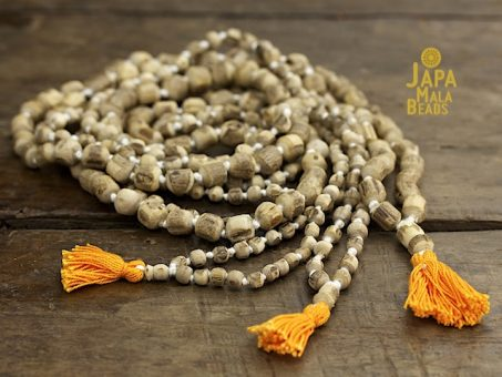 Tulsi Rough Carved Full Mala