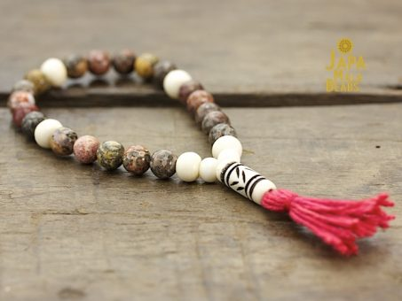Leopardskin Jasper and Bone Mala