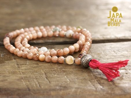 Peach Moonstone and Rutilated Quartz Full Mala