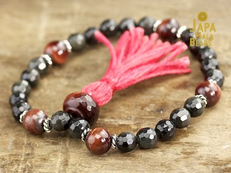 Black Obsidian and Red Tiger Eye Mala