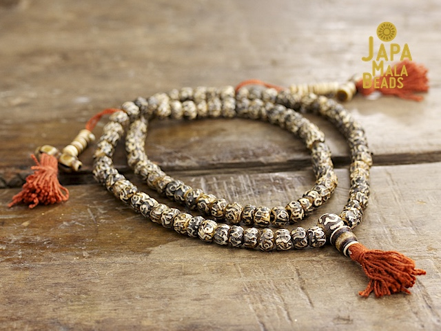 Carved Bone Mantra Full Mala