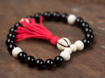 Black Onyx and Bone Mala