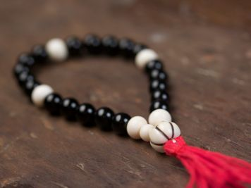 Black Onyx and Bone Mala