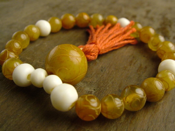 Yellow Jade and Bone Mala