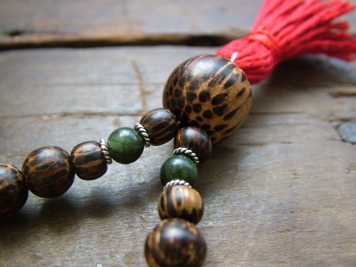 Palm Wood and Jade Mala