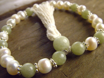 White Pearl and Green Garnet Mala