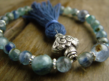 Kyanite and Silver Mala