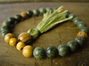Russian Serpentine and Olivewood Mala