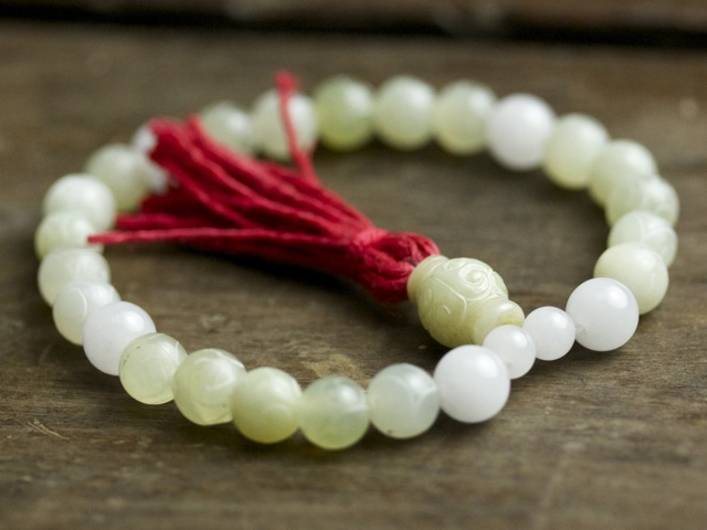 Carved Green and White Jade Mala